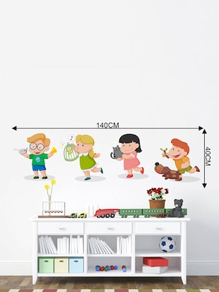 Rawpockets Wall Decals ' Kids Room : Kids Playing with Animals '  Wall stickers (PVC Vinyl) Multicolour - 15733846 - Standard Image - 2