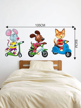 Rawpockets Wall Decals ' Kids Room : Pet Animals Riding Vehicles '  Wall stickers (PVC Vinyl) Multicolour - 15733851 - Standard Image - 2