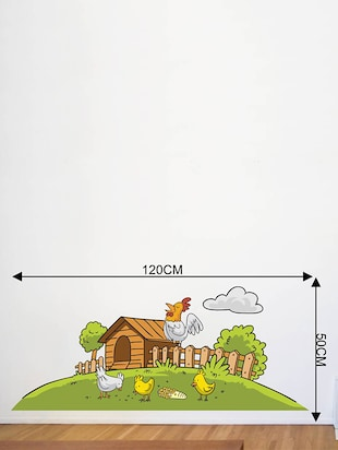 Rawpockets Wall Decals ' Farm House and Birds '  Wall stickers (PVC Vinyl) Multicolour - 15733852 - Standard Image - 2