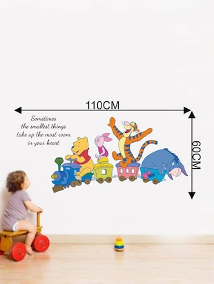 Rawpockets Wall Decals ' Kids Room : Animals on Baby Train and Quote '  Wall stickers (PVC Vinyl) Multicolour - 15733859 - Standard Image - 2