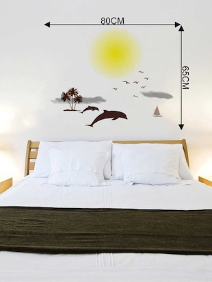 Rawpockets Wall Decals ' Beach and Sunset Story '  Wall stickers (PVC Vinyl) Multicolour - 15733869 - Standard Image - 2