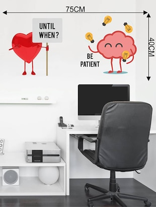 Rawpockets Wall Decals ' Heart and Brain Fight '  Wall stickers (PVC Vinyl) Multicolour - 15733873 - Standard Image - 2