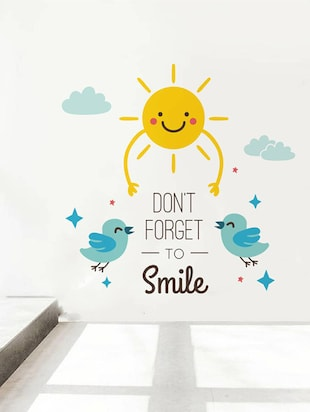 Rawpockets Wall Decals ' Don't Forget To Smile  '  Wall stickers (PVC Vinyl) Multicolour - 15733875 - Standard Image - 2