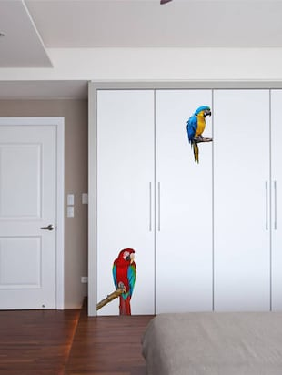 Rawpockets Wall Decals ' Green Wing Macaw Parrot '  Wall stickers (PVC Vinyl) Multicolour - 15733887 - Standard Image - 2