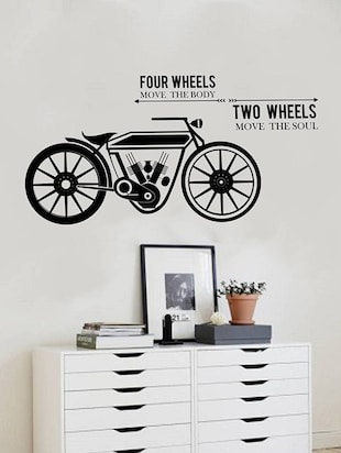 Rawpockets Wall Decals ' Four Wheels Two Wheels '  Wall stickers (PVC Vinyl) Multicolour - 15733916 - Standard Image - 2