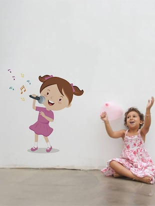 Rawpockets Wall Decals ' Girl Singing Songs '  Wall stickers (PVC Vinyl) Multicolour - 15733931 - Standard Image - 2