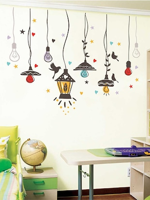 Rawpockets Wall Decals ' Birds Nest and Lights Sparkling '  Wall stickers (PVC Vinyl) Multicolour - 15733941 - Standard Image - 2