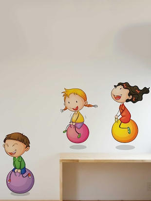 Rawpockets Wall Decals ' Kids Playing Ball Game '  Wall stickers (PVC Vinyl) Multicolour - 15733942 - Standard Image - 2