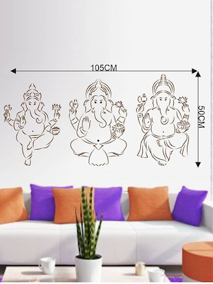 Rawpockets Wall Decals ' Three Kinds of Lord Ganesha '  Wall stickers (PVC Vinyl) Multicolour - 15733974 - Standard Image - 2