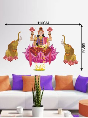 buy rawpockets wall decals ' goddess laxmi with elephant ' wall