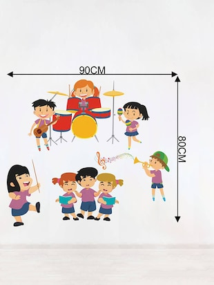 Rawpockets Wall Decals ' Kid's Music Band - Kid's Room '  Wall stickers (PVC Vinyl) Multicolour - 15733980 - Standard Image - 2