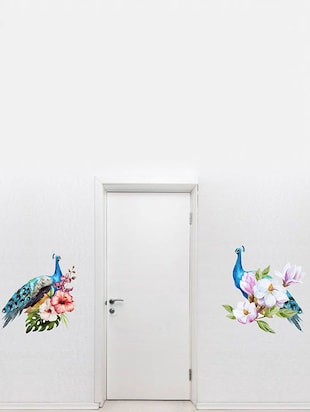 Rawpockets Wall Decals ' Peacock Pair on Flowers '  Wall stickers (PVC Vinyl) Multicolour - 15734022 - Standard Image - 2