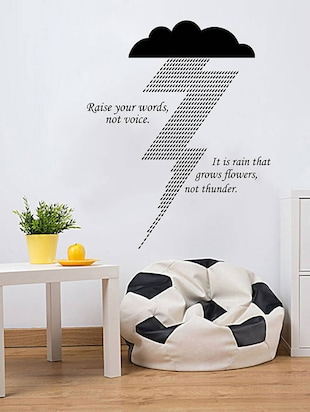 "Rawpockets Wall Decals ' "" Raise Your Words not Voice "" Quote '  Wall stickers (PVC Vinyl) Multicolour - 15734026 - Standard Image - 2"