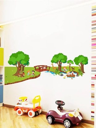 Rawpockets Wall Decals ' River and Park for Children - Kid's Room '  Wall stickers (PVC Vinyl) Multicolour - 15734032 - Standard Image - 2