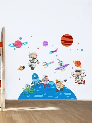 Rawpockets Wall Decals ' Kid's on Space - Kid's Room '  Wall stickers (PVC Vinyl) Multicolour - 15734033 - Standard Image - 2