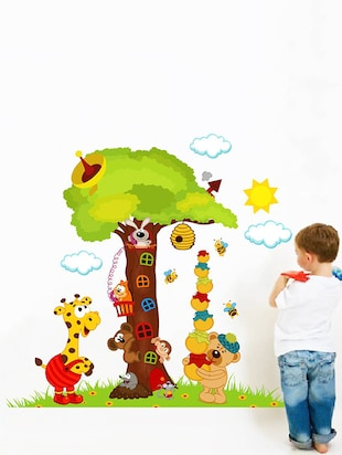 Rawpockets Wall Decals ' Big Tree and Animals Cartoon - Kid's Room '  Wall stickers (PVC Vinyl) Multicolour - 15734034 - Standard Image - 2
