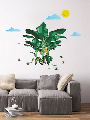 Rawpockets Wall Decals ' Banana Tree Story with Sunrise '  Wall stickers (PVC Vinyl) Multicolour - 15734054 - Standard Image - 2