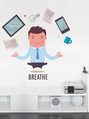 Rawpockets Wall Decals ' Breathe Infograph - Office '  Wall stickers (PVC Vinyl) Multicolour - 15734066 - Standard Image - 2