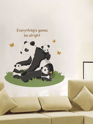 "Rawpockets Wall Decals ' "" Everything Gonna Be Alright "" Quote and Panda Bear '  Wall stickers (PVC Vinyl) Multicolour - 15734077 - Standard Image - 2"