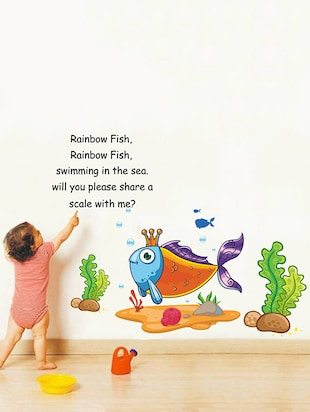 Rawpockets Wall Decals ' Rainbow Fish Rainbow Fish Poem - Kid's Room '  Wall stickers (PVC Vinyl) Multicolour - 15734078 - Standard Image - 2