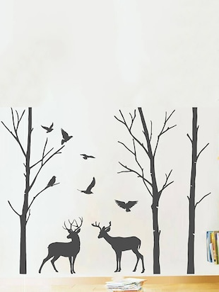 Rawpockets Wall Decals ' Deer and Jungle Black Story '  Wall stickers (PVC Vinyl) Multicolour - 15734083 - Standard Image - 2