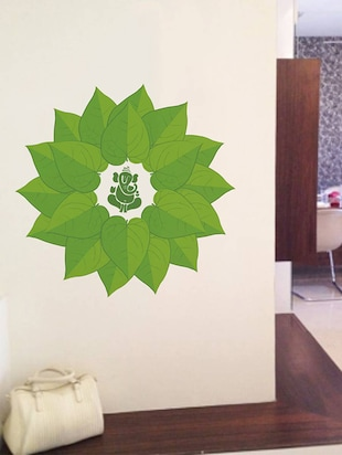 Rawpockets Wall Decals ' Lord Ganesha Green Decorative Leaves '  Wall stickers (PVC Vinyl) Multicolour - 15734092 - Standard Image - 2