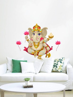 Rawpockets Wall Decals ' Lord Ganesha with Lotus Flower  '  Wall stickers (PVC Vinyl) Multicolour - 15734096 - Standard Image - 2