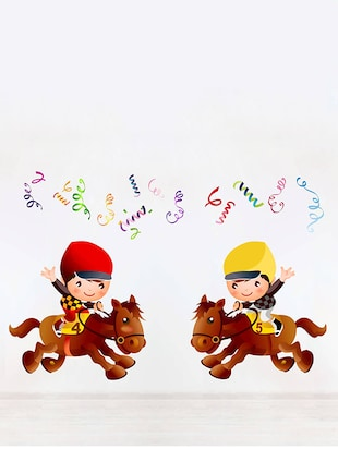 Rawpockets Wall Decals ' Champion Kids Riding Horse - Kids Room '  Wall stickers (PVC Vinyl) Multicolour - 15734116 - Standard Image - 2