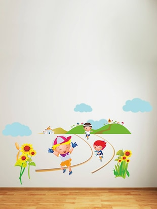 Rawpockets Wall Decals ' Kids Marathon - Kids Room '  Wall stickers (PVC Vinyl) Multicolour - 15734119 - Standard Image - 2