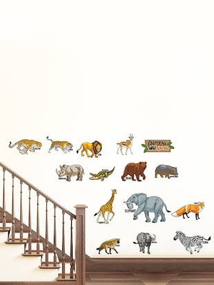 Rawpockets Wall Decals ' Caution Wild animals - Kids Room '  Wall stickers (PVC Vinyl) Multicolour - 15734122 - Standard Image - 2