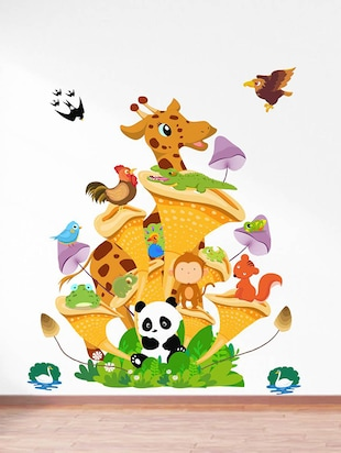 Rawpockets Wall Decals ' Animals Tree House - Kids Room '  Wall stickers (PVC Vinyl) Multicolour - 15734132 - Standard Image - 2