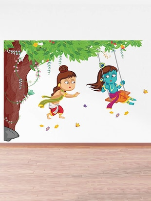 Rawpockets Wall Decals ' Lord Krishna Playing Swing under Tree '  Wall stickers (PVC Vinyl) Multicolour - 15734136 - Standard Image - 2
