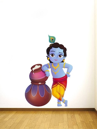 Rawpockets Wall Decals ' Lord Krishna and Butter Pots '  Wall stickers (PVC Vinyl) Multicolour - 15734139 - Standard Image - 2