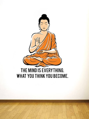 Rawpockets Wall Decals ' Peaceful Buddha and Quote on Mind '  Wall stickers (PVC Vinyl) Multicolour - 15734141 - Standard Image - 2