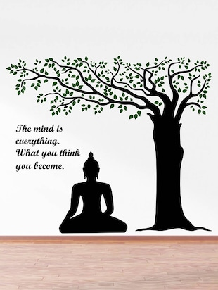 Rawpockets Wall Decals ' Lord Buddha under Tree and Quote on Mind '  Wall stickers (PVC Vinyl) Multicolour - 15734143 - Standard Image - 2