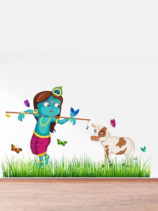 Rawpockets Wall Decals ' Lord Krishna Cow Grass Butterfly Story '  Wall stickers (PVC Vinyl) Multicolour - 15734146 - Standard Image - 2