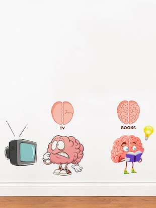 Rawpockets Wall Decals ' TV vs Brain '  Wall stickers (PVC Vinyl) Multicolour - 15734156 - Standard Image - 2