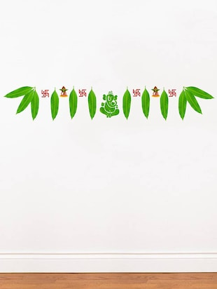 Rawpockets Wall Decals ' Mango Leaves with Ganapathi Decorative for Doors '  Wall stickers (PVC Vinyl) Multicolour - 15734158 - Standard Image - 2