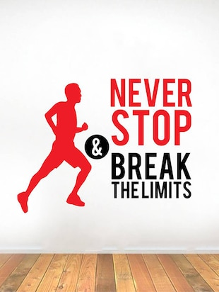 Rawpockets Wall Decals '  Never Stop and Break limits ' Motivational Quote '  Wall stickers (PVC Vinyl) Multicolour - 15734161 - Standard Image - 2