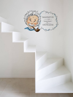 Rawpockets Wall Decals ' Albert Einstein Imagination Quote '  Wall stickers (PVC Vinyl) Multicolour - 15734162 - Standard Image - 2