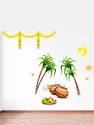 Rawpockets Wall Decals ' Sankranti Pongal Celebrations Decorative '  Wall stickers (PVC Vinyl) Multicolour - 15734163 - Standard Image - 2