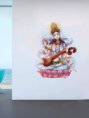 Rawpockets Wall Decals ' Goddess Saraswathi  '  Wall stickers (PVC Vinyl) Multicolour - 15734182 - Standard Image - 2