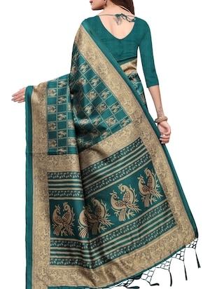 conversational printed saree with blouse - 15734625 - Standard Image - 2