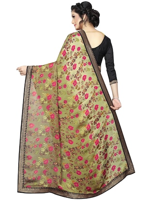 floral printed saree with blouse - 15734774 - Standard Image - 2