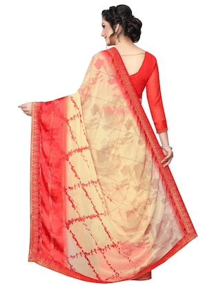 checkered printed saree with blouse - 15734776 - Standard Image - 2