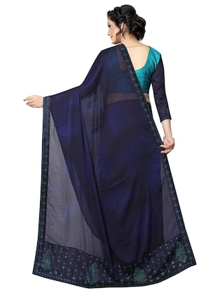 embellished pallu bordered saree with blouse - 15734781 - Standard Image - 2