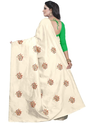 beige embroidered saree with blouse - 15734925 - Standard Image - 2