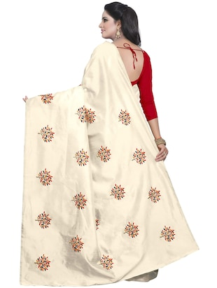 beige embroidered saree with blouse - 15734929 - Standard Image - 2