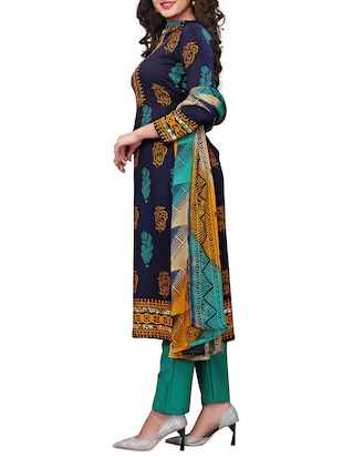 Printed unstitched palazzo suit - 15734944 - Standard Image - 2