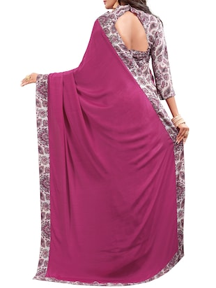 paisley half and half saree with blouse - 15735029 - Standard Image - 2